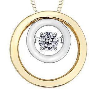 PULSE 10KYW DIAMOND CIRCLE NECKLACE