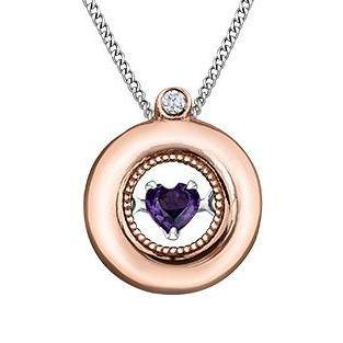 PULSE 10KRW CIRCLE NECKLACE WITH AMETHYST HEART