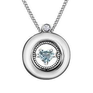 PULSE 10KW CIRCLE NECKLACE WITH AQUAMARINE HEART
