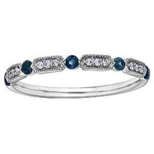 10K WHITE GOLD 0.05CTW DIAMOND AND BLUE SAPPHIRE RING