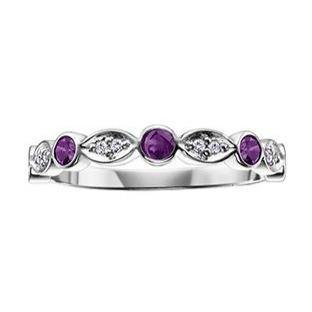 10K WHITE GOLD 0.04CTW DIAMOND AND AMETHYST RING