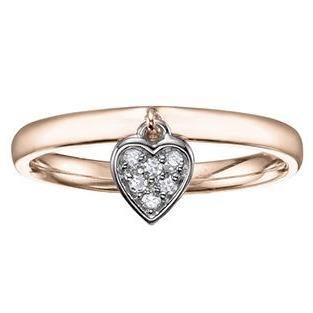 10K ROSE AND WHITE GOLD 0.06CTW DIAMOND HEART DANGLE RING