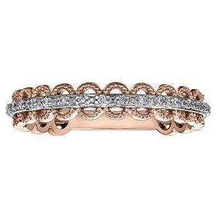 10K ROSE GOLD 0.08CTW DIAMOND LACE RING