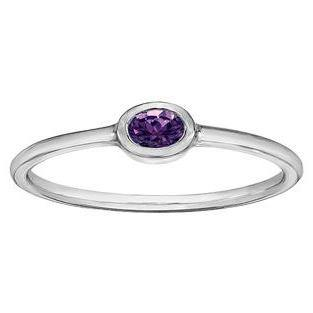 10K WHITE GOLD BIRTHSTONE RING (SIZE 5-8)