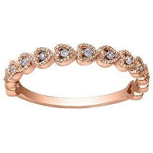 10K ROSE GOLD 0.10CTW DIAMOND HEARTS RING