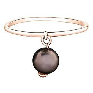 10K ROSE GOLD CHOCOLATE PEARL DANGLE RING