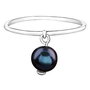 10K WHITE GOLD BLACK PEARL DANGLE RING