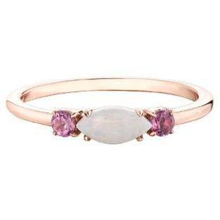 10K ROSE GOLD OPAL AND PINK TOURMALINE RING