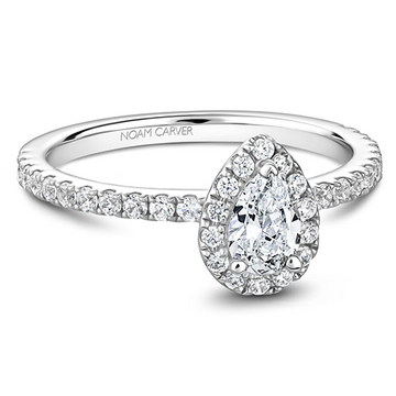 NOAM CARVER 14K WHITE GOLD 0.33 PEAR DIAMOND ENGAGEMENT RING