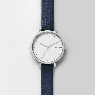 SKAGEN LADIES WHITE DIAL BLACK STRAP WATCH