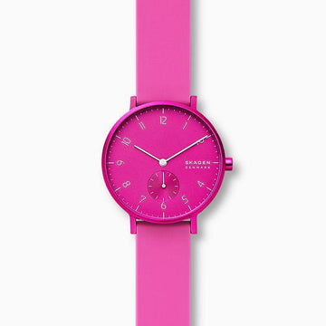 SKAGEN LADIES HOT PINK SILICONE STRAP WATCH
