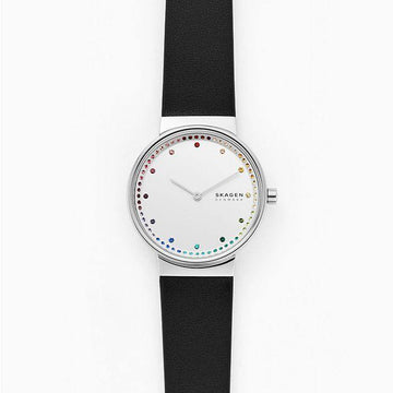 SKAGEN LADIES WHITE WITH RAINBOW CZ DIAL BLACK LEATHER STRAP WATCH