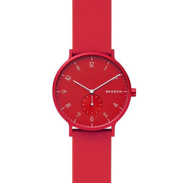 SKAGEN GENTS RED & WHITE DIAL RED SILICONE STRAP SKW6512