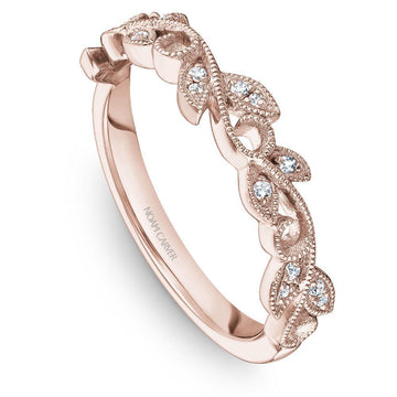 FLORAL INSPIRED NOAM CARVER STACKABLE WEDDING BAND WITH 16 DIAMONDS - Appelt's Diamonds