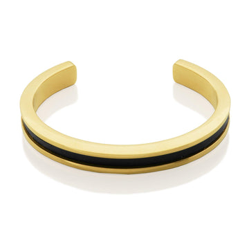 STEELX BLACK LEATHER BANGLE - Appelt's Diamonds