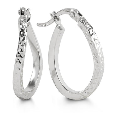 10K WHITE GOLD DIAMOND CUT WAVY HOOP EARRINGS
