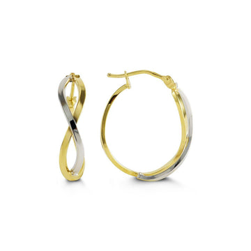 BELLA 10K YELLOW AND WHITE GOLD INFINITY HOOP EARRINGS