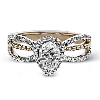 ZEGHANI 14K PEAR-CUT DIAMOND WITH HALO ENGAGEMENT RING ZR1693