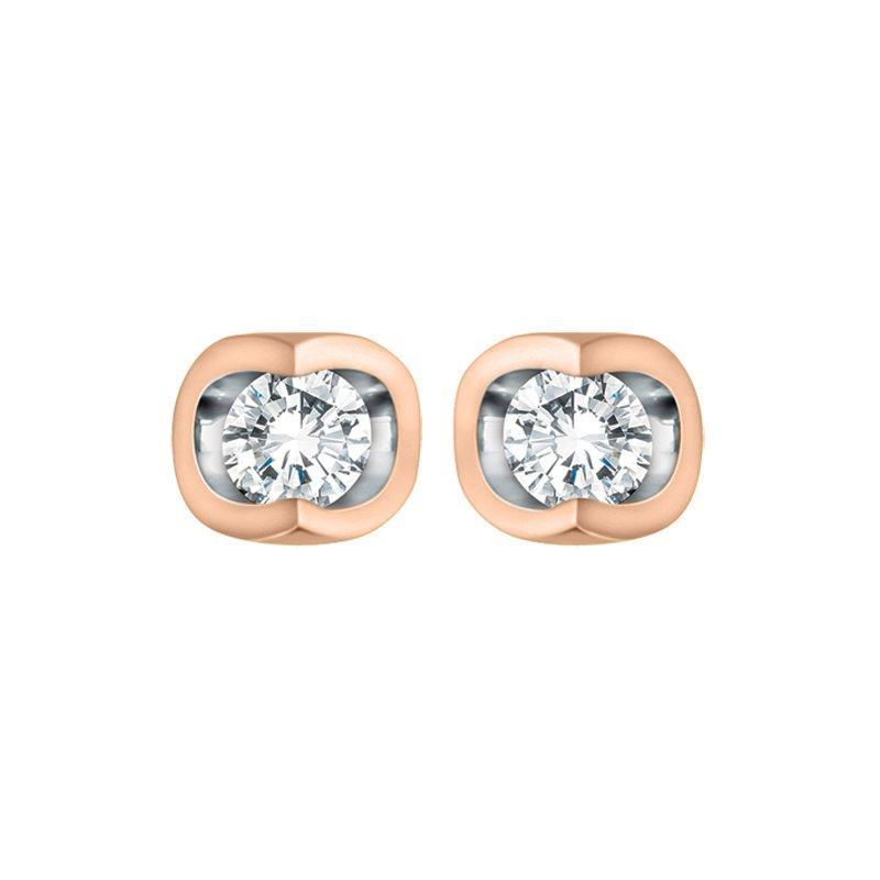 FOREVER JEWELLERY 10K ROSE AND WHITE GOLD DIAMOND STUD EARRINGS