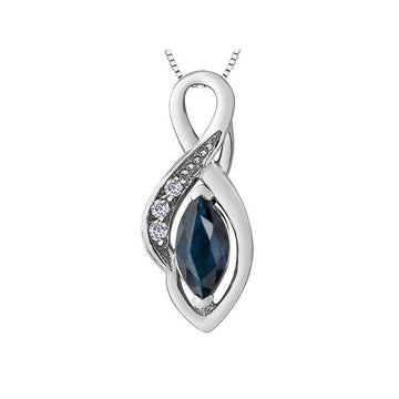 FOREVER JEWELLERY 10K WHITE GOLD BLUE SAPPHIRE NECKLACE