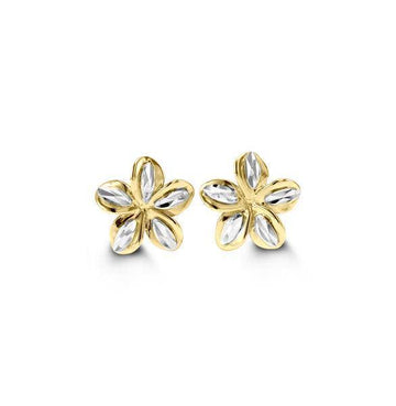 BELLA 10K YELLOW AND WHITE FLOWER STUD EARRINGS