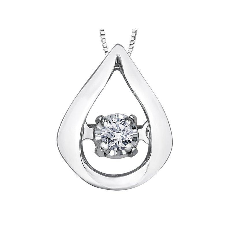 FOREVER JEWELLERY 10K WHITE GOLD DIAMOND TEARDROP NECKLACE