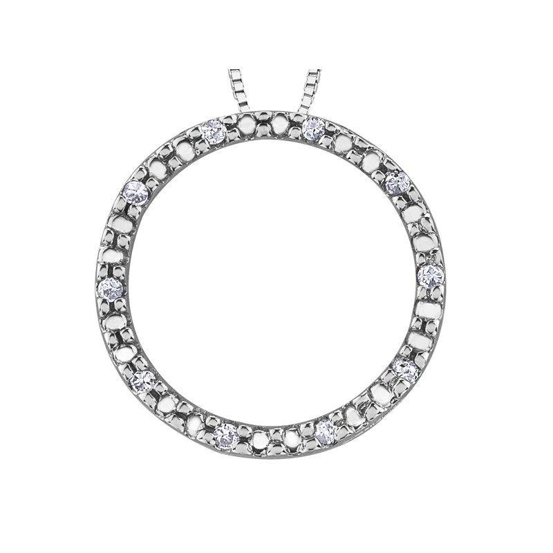 FOREVER JEWELLERY 10K WHITE GOLD DIAMOND CIRCLE NECKLACE