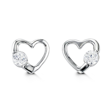 BELLA BABY 14K WHITE GOLD CZ HEART STUD EARRINGS - Appelt's Diamonds