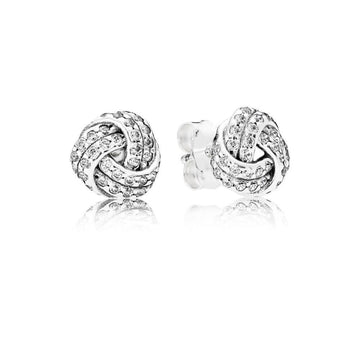 PANDORA SPARKLING LOVE KNOT CZ STUD EARRINGS