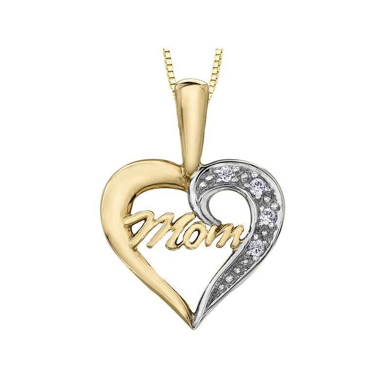 FOREVER JEWELLERY 10K YELLOW GOLD MOM DIAMOND HEART NECKLACE