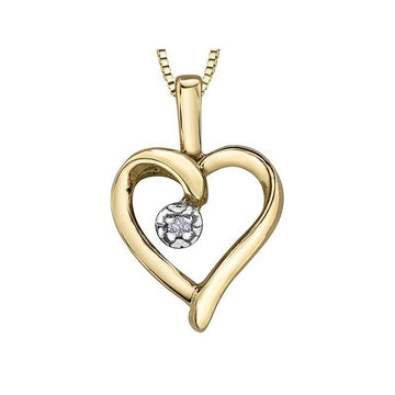 FOREVER JEWELLERY 10K YELLOW GOLD DIAMOND HEART NECKLACE