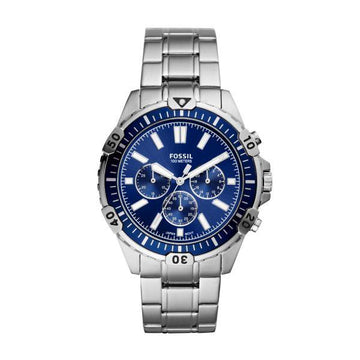 FOSSIL GENTS WATCH WITH BLUE DIAL AND SILVER BRACELET