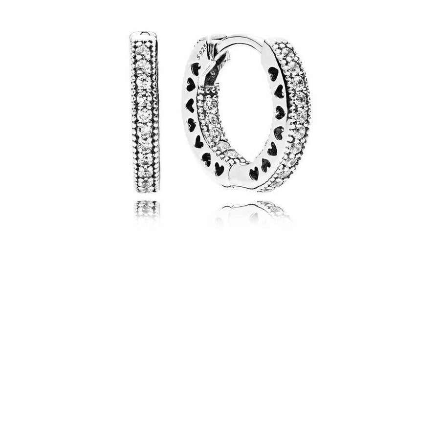 PANDORA HEARTS OF PANDORA CZ SMALL HOOP EARRINGS