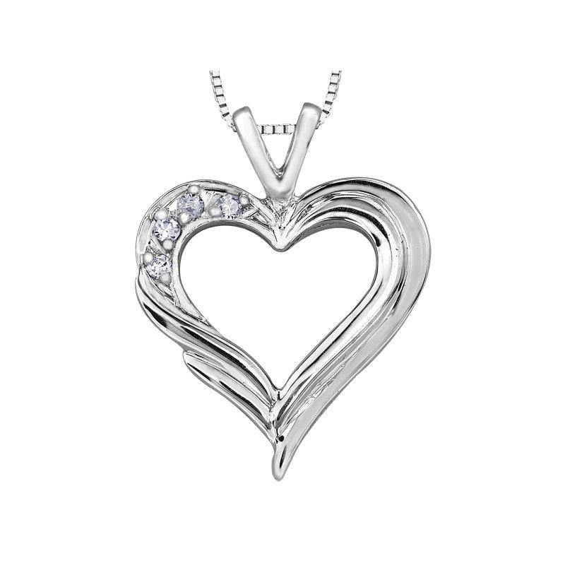 FOREVER JEWELLERY 10K WHITE GOLD DIAMOND HEART NECKLACE