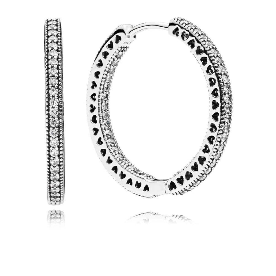 PANDORA HEARTS OF PANDORA CZ HOOP EARRINGS
