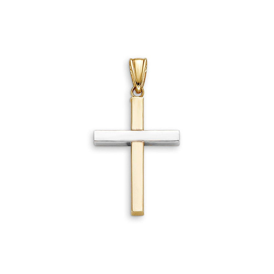 10K YELLOW AND WHITE GOLD CROSS PENDANT 24MM