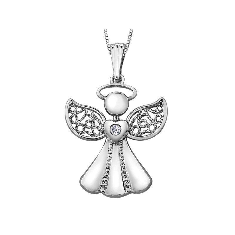 FOREVER JEWELLERY 10K WHITE GOLD ANGEL DIAMOND NECKLACE