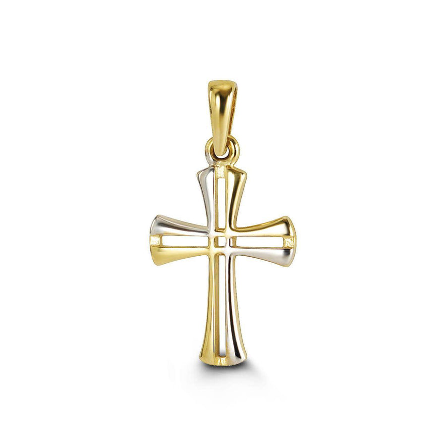 10K YELLOW AND WHITE GOLD OPEN CROSS PENDANT 17MM