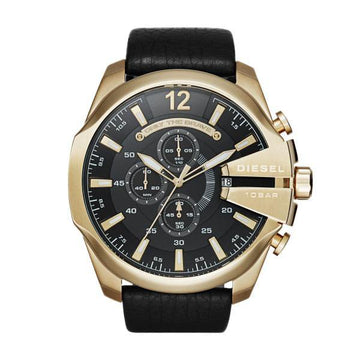 MEGA CHIEF CHRONOGRAPH BLACK LEATHER WATCH