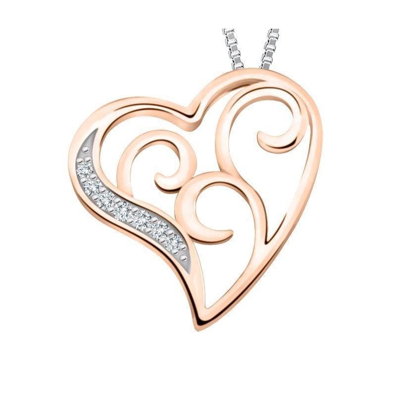 FOREVER LOVE 10K ROSE AND WHITE GOLD DIAMOND HEART SWIRL NECKLACE