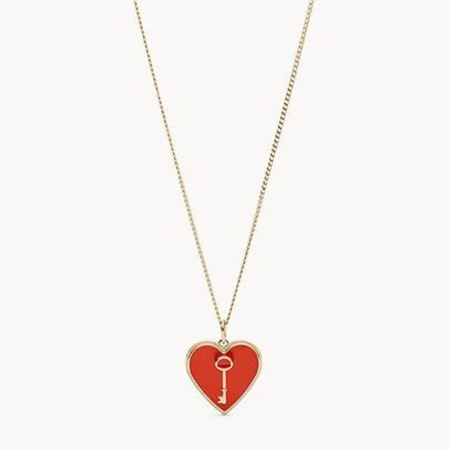 FOSSIL NECKLACE  WITH RED ENAMEL HEART & KEY