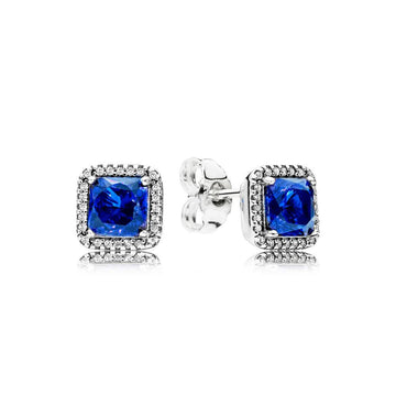PANDORA TIMELESS ELEGANCE BLUE CZ STUD EARRINGS