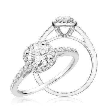 14K WHITE GOLD 0.25 CUSHION DIAMOND HALO ENGAGEMENT RING
