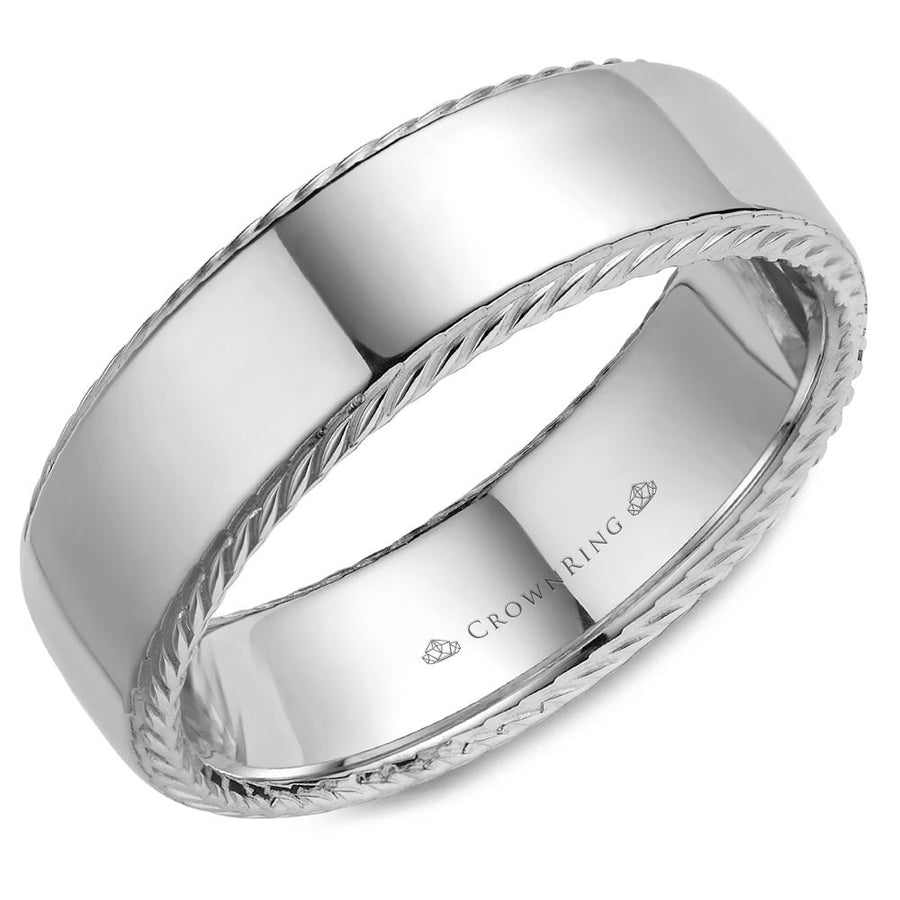CROWN RING GENTLEMANS WEDDING BAND BR-007R7W
