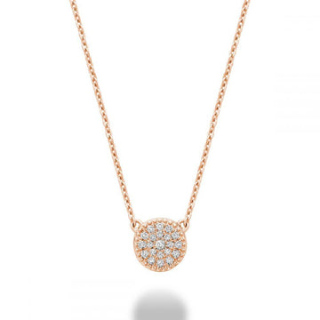 RNB 10K  GOLD DIAMOND CLUSTER NECKLACE