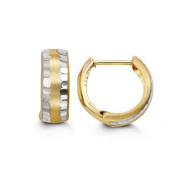 BELLA 10K YELLOW AND WHITE GOLD BRUSHED WITH FACETS HUGGIE EARRINGS