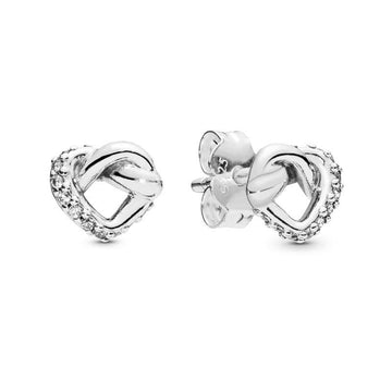 PANDORA KNOTTED HEART CZ STUD EARRINGS