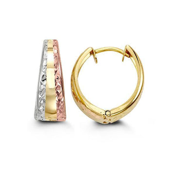 BELLA 10K TRI GOLD D/C HUGGIE EARRINGS