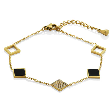STEELX GOLD PLATED SQUARES BRACELET - Appelt's Diamonds