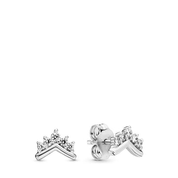 PANDORA TIARA WISHBONE CZ STUD EARRINGS